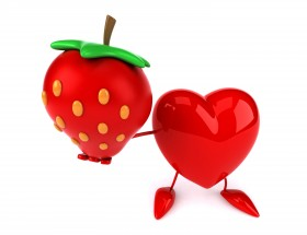 3d Strawberry and red heart funny hd wallpaper