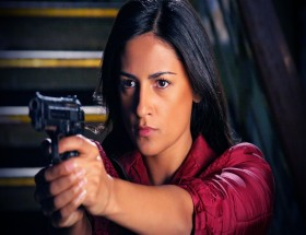 Aruna Shields Bollywood action girl with gun in Prince movie wallpapers