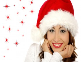 Cute girl wishes Merry Christmas