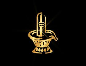 Golden Shivling with black background wallpaper