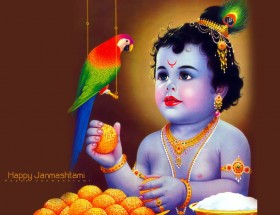 Little Lord Krishna with parrot image