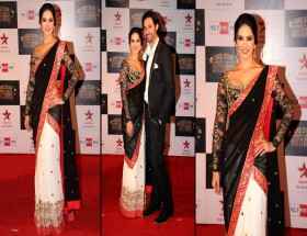 Sunny Leone hot saree with husband photos