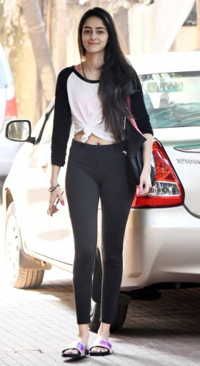 Ananya Pandey hot in tight jeans pant gym workout costume photos
