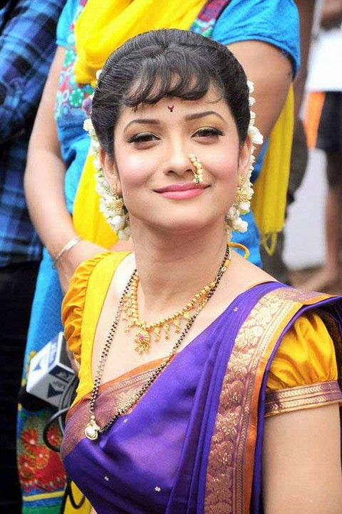 Cute Ankita Lokhande blue saree mobile wallpaper