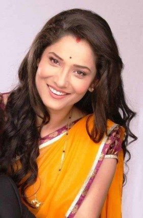 Indian TV serial actress Ankita Lokhande orange saree photos